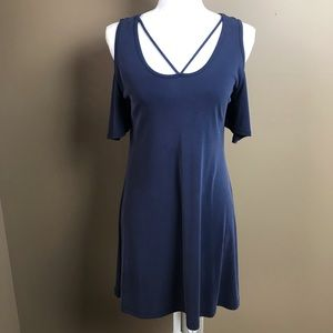 Francesca's Alya Cold Shoulder Dress Blue XS